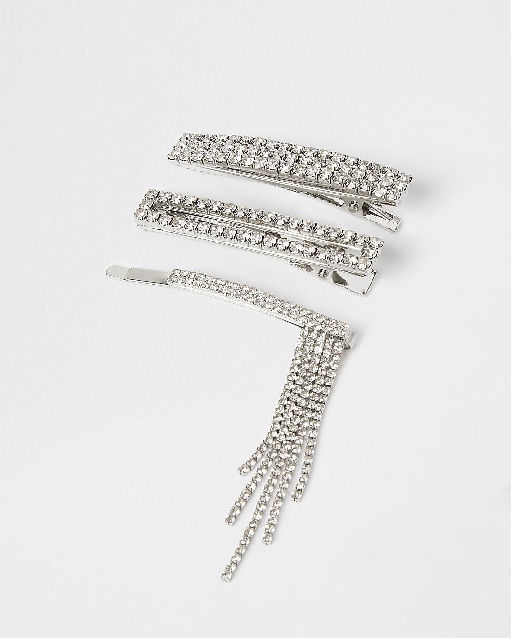 Silver diamante hairclip multipack