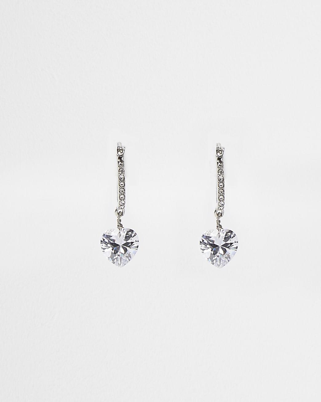 Silver diamante heart drop earrings