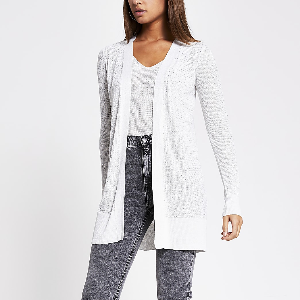 Silver diamante knitted cardigan