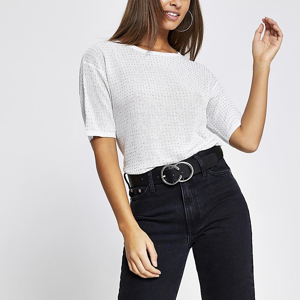 Zilverkleurig gebreid T-shirt met siersteentjes