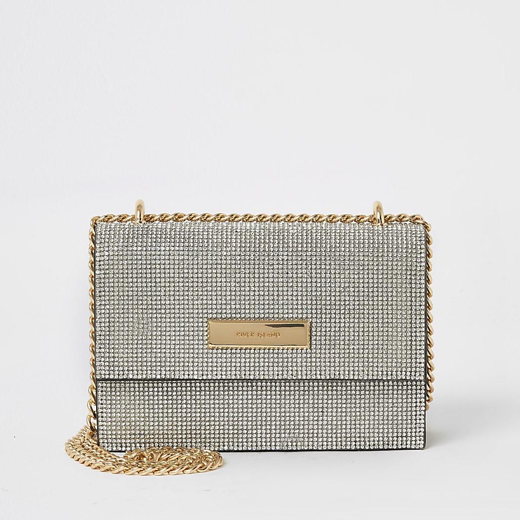 Mini sac bandoulière argenté à strass