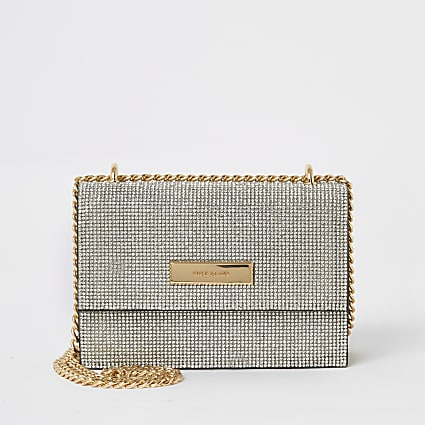 Silver diamante mini cross body handbag
