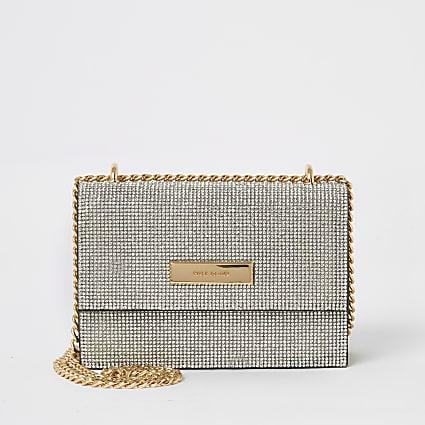 Silver diamante mini cross body handbag