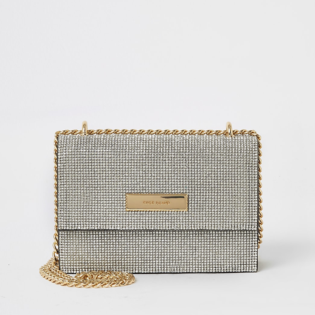 Silver diamante mini crossbody bag
