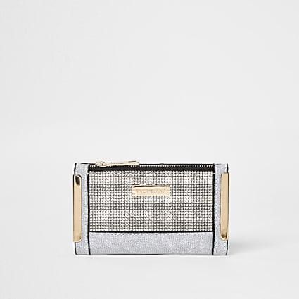 Silver diamante mini purse