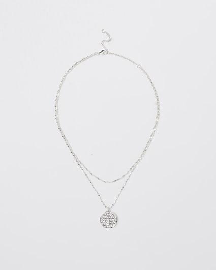 Silver diamante multirow necklace