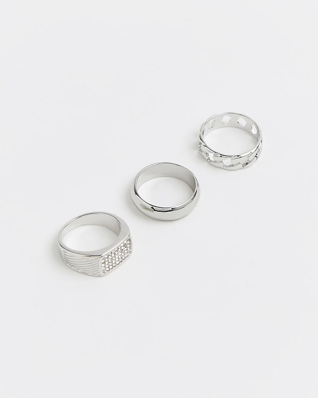 Silver diamante rings 3 pack