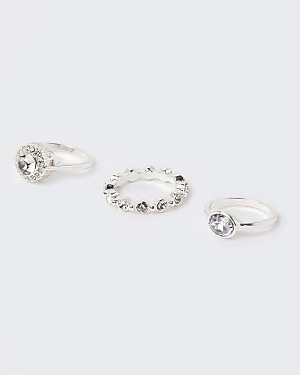 Silver diamante rings multipack