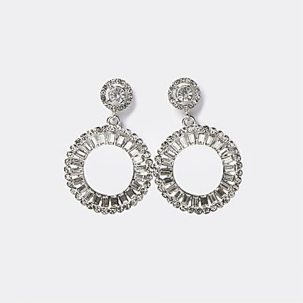 Silver diamante round drop earrings