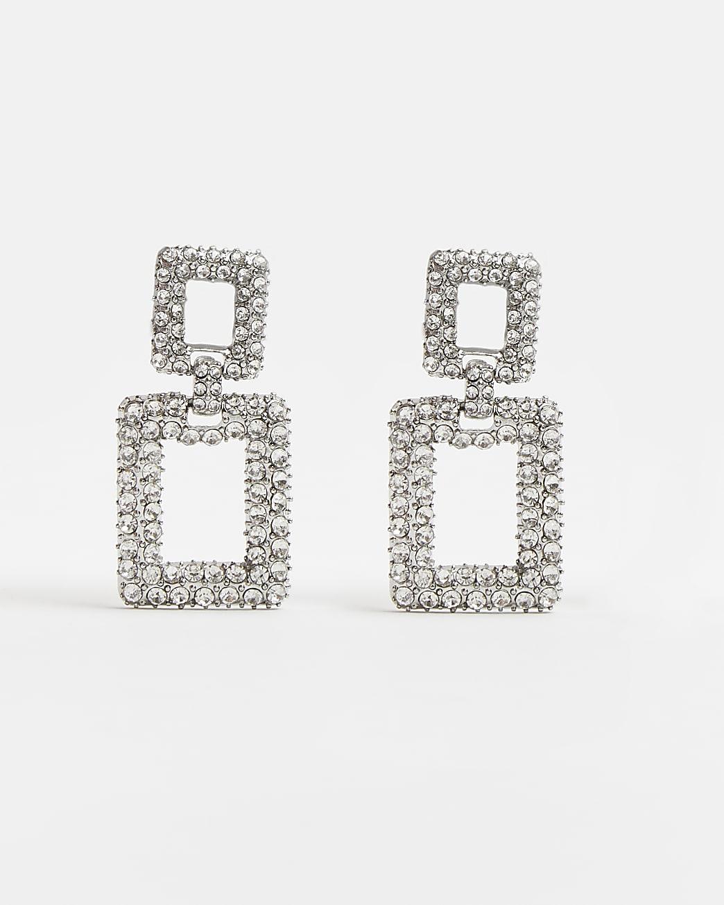 Silver diamante square drop earrings