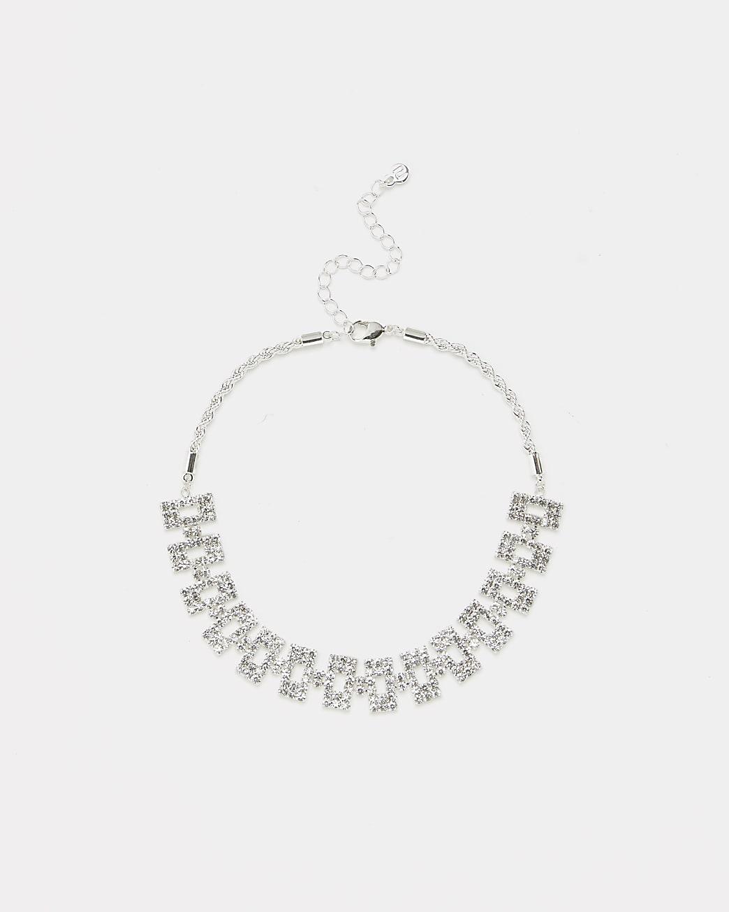 Silver diamante square link choker