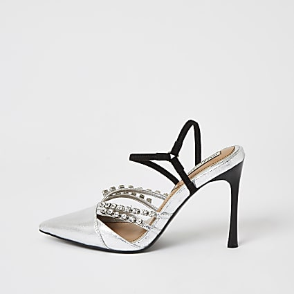 Silver diamante strappy court shoes