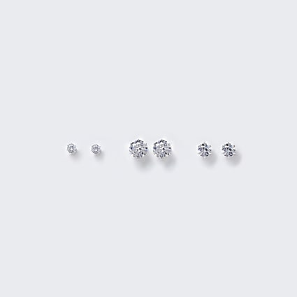Silver Diamante Stud earring multipack
