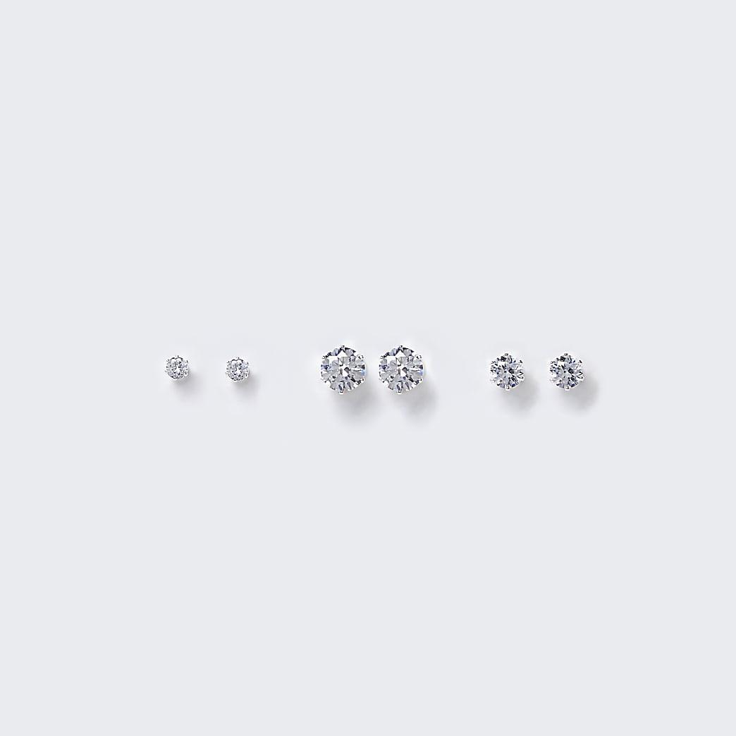 Silver Diamante Stud earring multipack