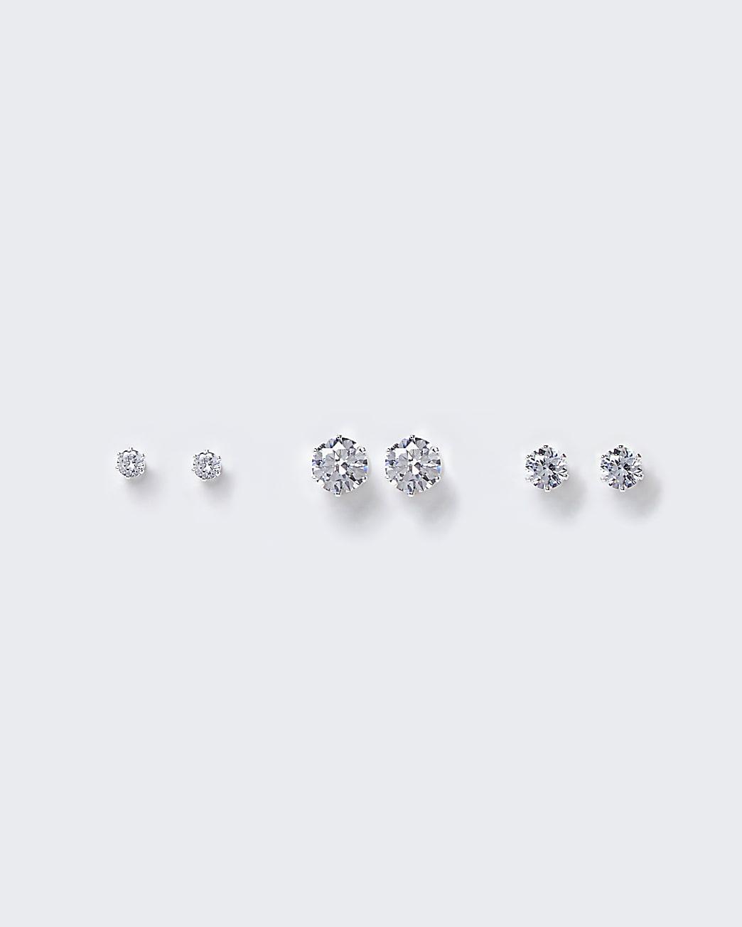 Silver diamante stud earrings multipack