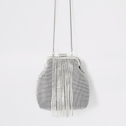 Silver diamante tassel cliptop handbag