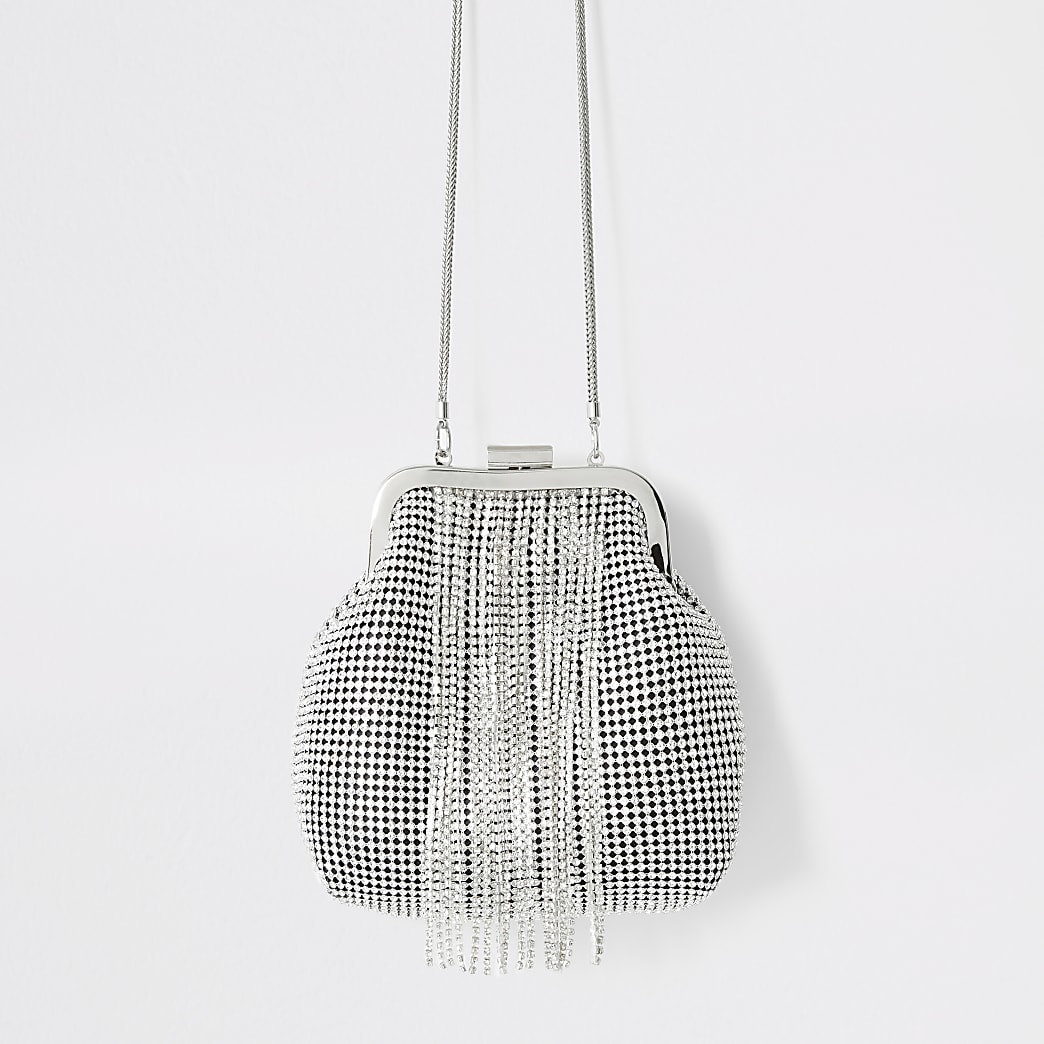 Silver diamante tassel cliptop handbag