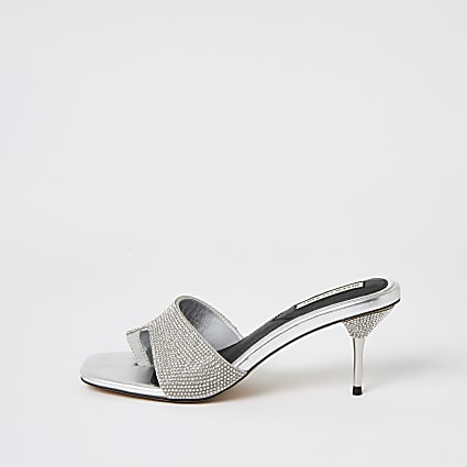 Silver diamante toe loop mule sandals