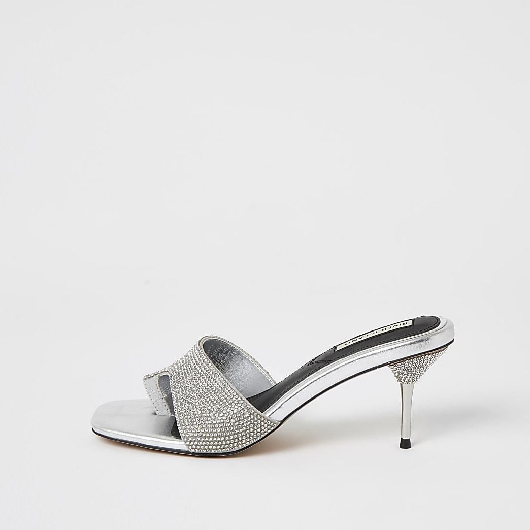 Silver diamante toe loop mule sandals