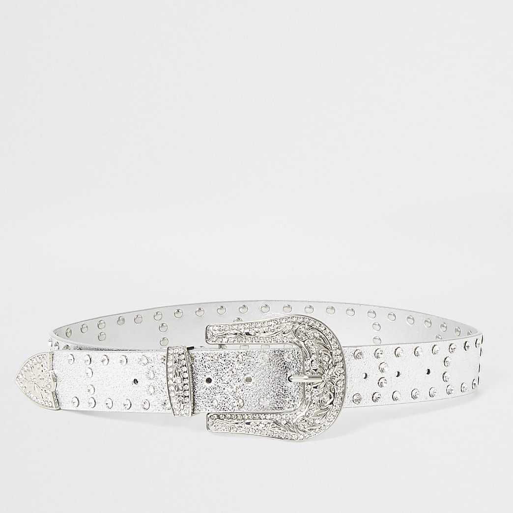 Silver diamante western buckle belt