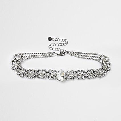 Silver diamond teardrop choker necklace