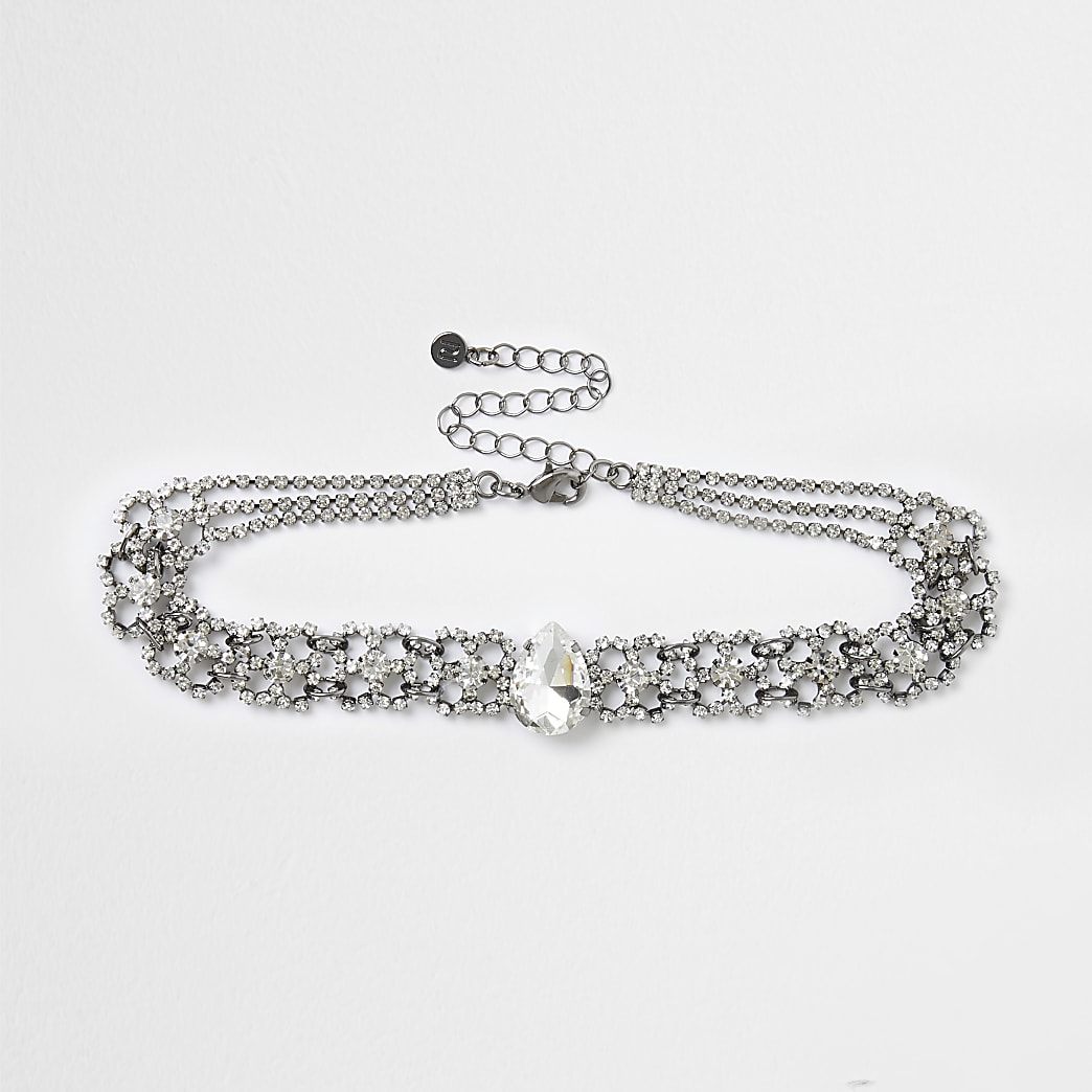 Silver diamond teardrop choker necklace