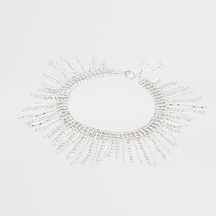 Silver dot tassel anklet