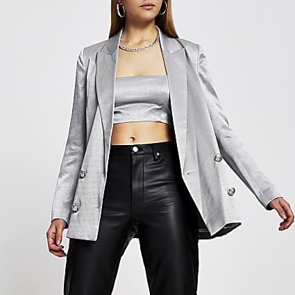 Silver double breasted satin blazer