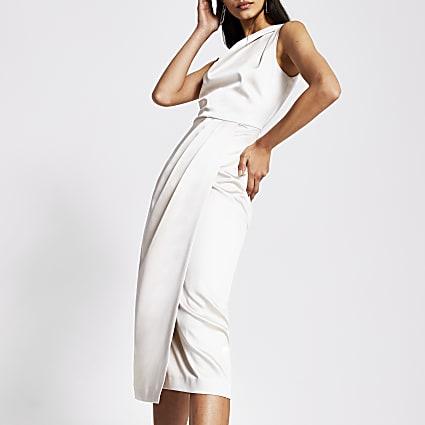 Silver double strap midi dress