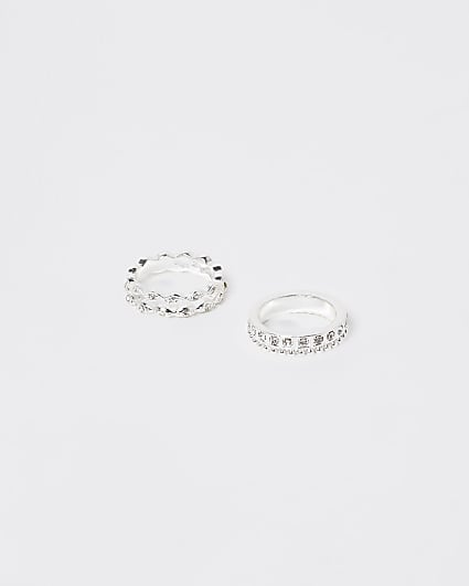 Silver embellished band rings