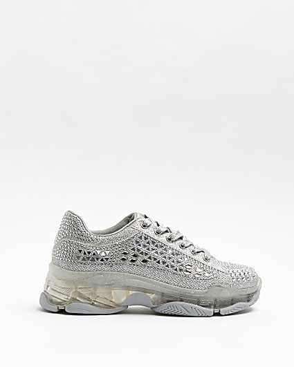 Silver embellished lace up trainers