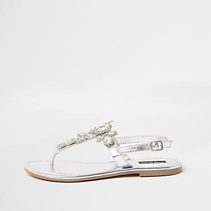 Silver embellished toe thong sandal