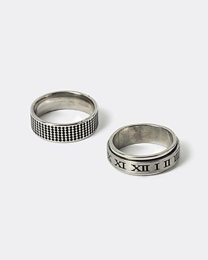 Silver embossed rings 2 pack