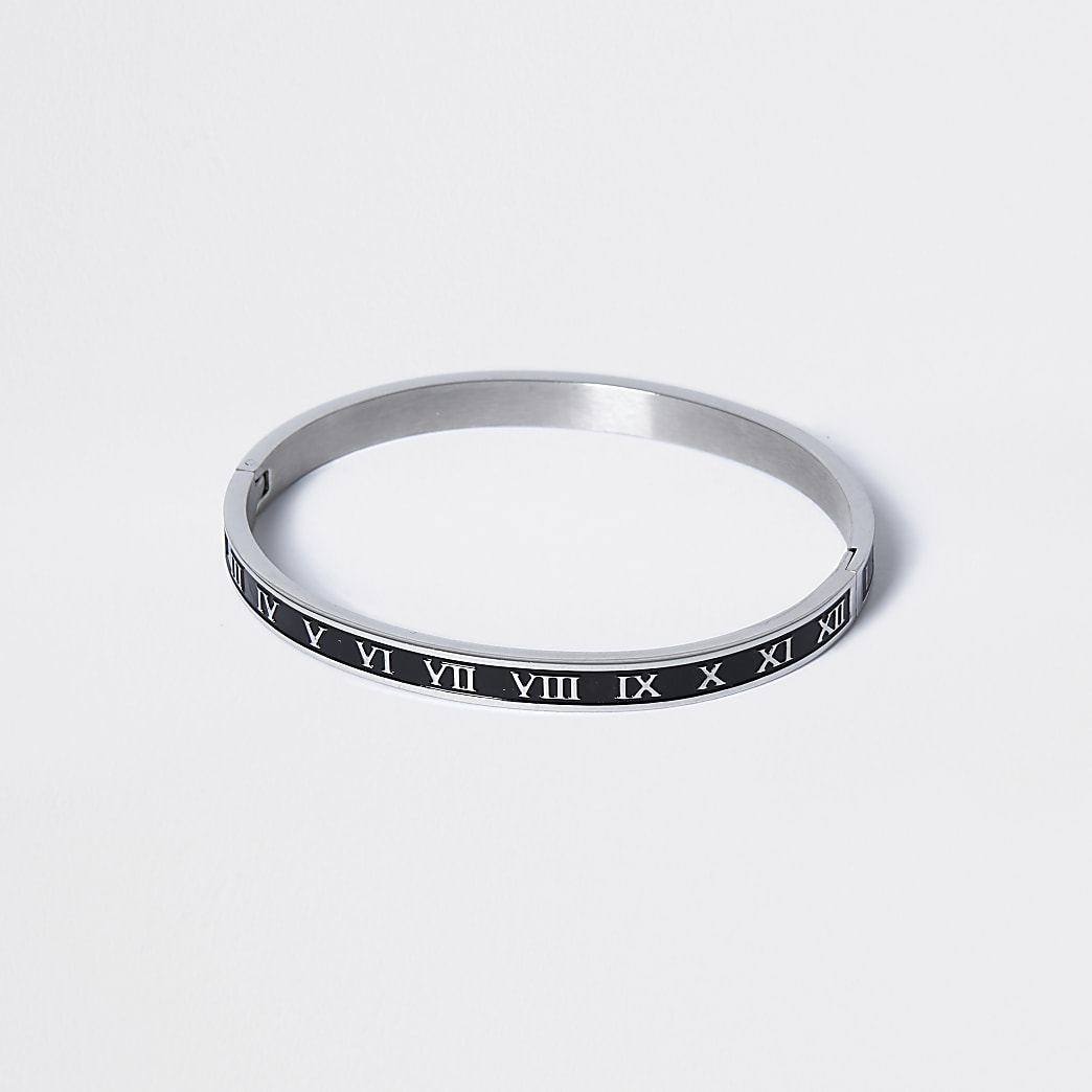 Silver enamel roman numeral bangle