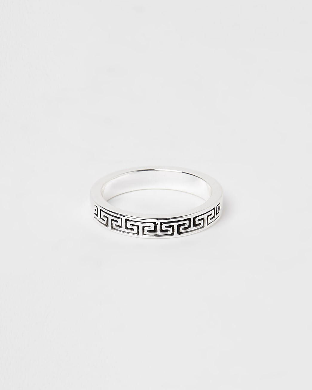 Silver engraved band ring