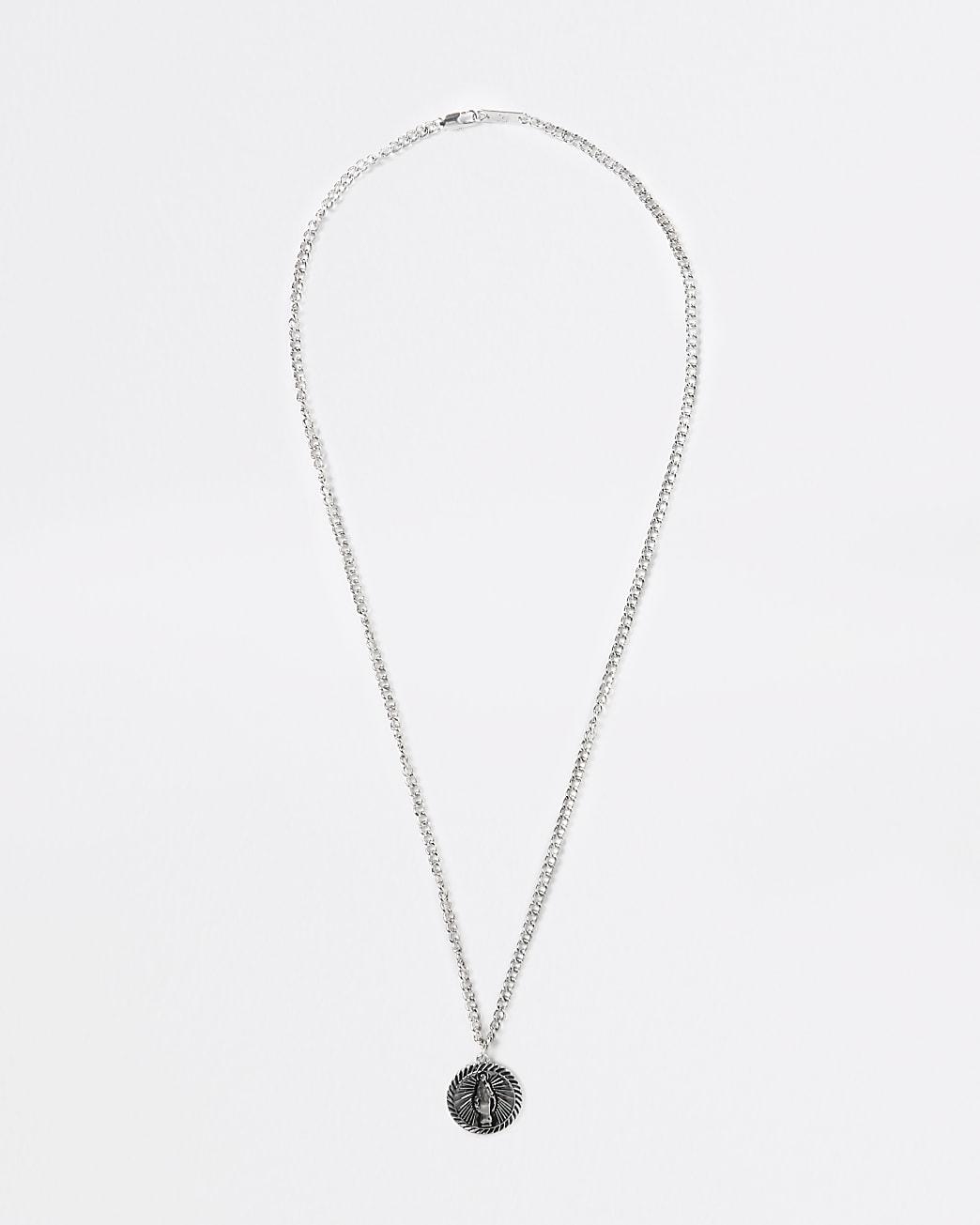 Silver engraved coin necklace