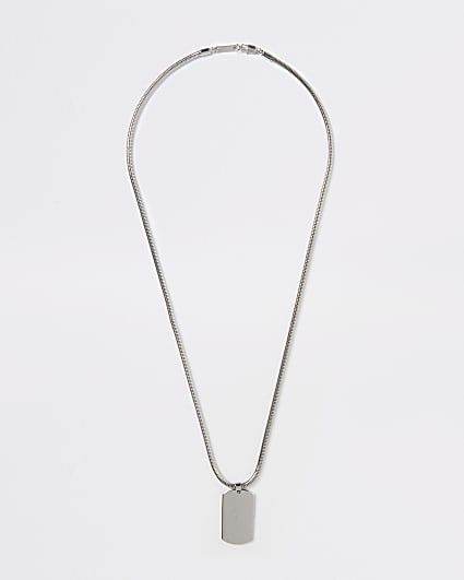 Silver engraved dog tag necklace