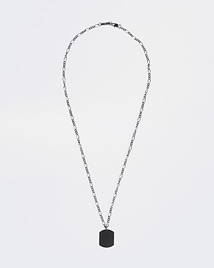 Silver figaro chain dog tag necklace