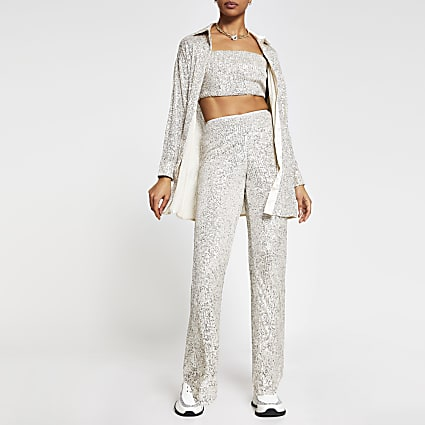 Silver fitted sequin trousers