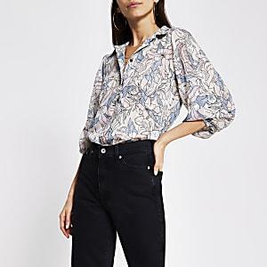Silver floral print long sleeve chiffon shirt