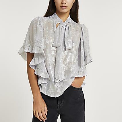 Silver floral print tie neck blouse