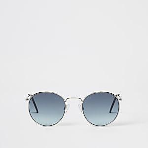 Runde Sonnenbrillen mit blauen Gläsern und Gestell in Silber