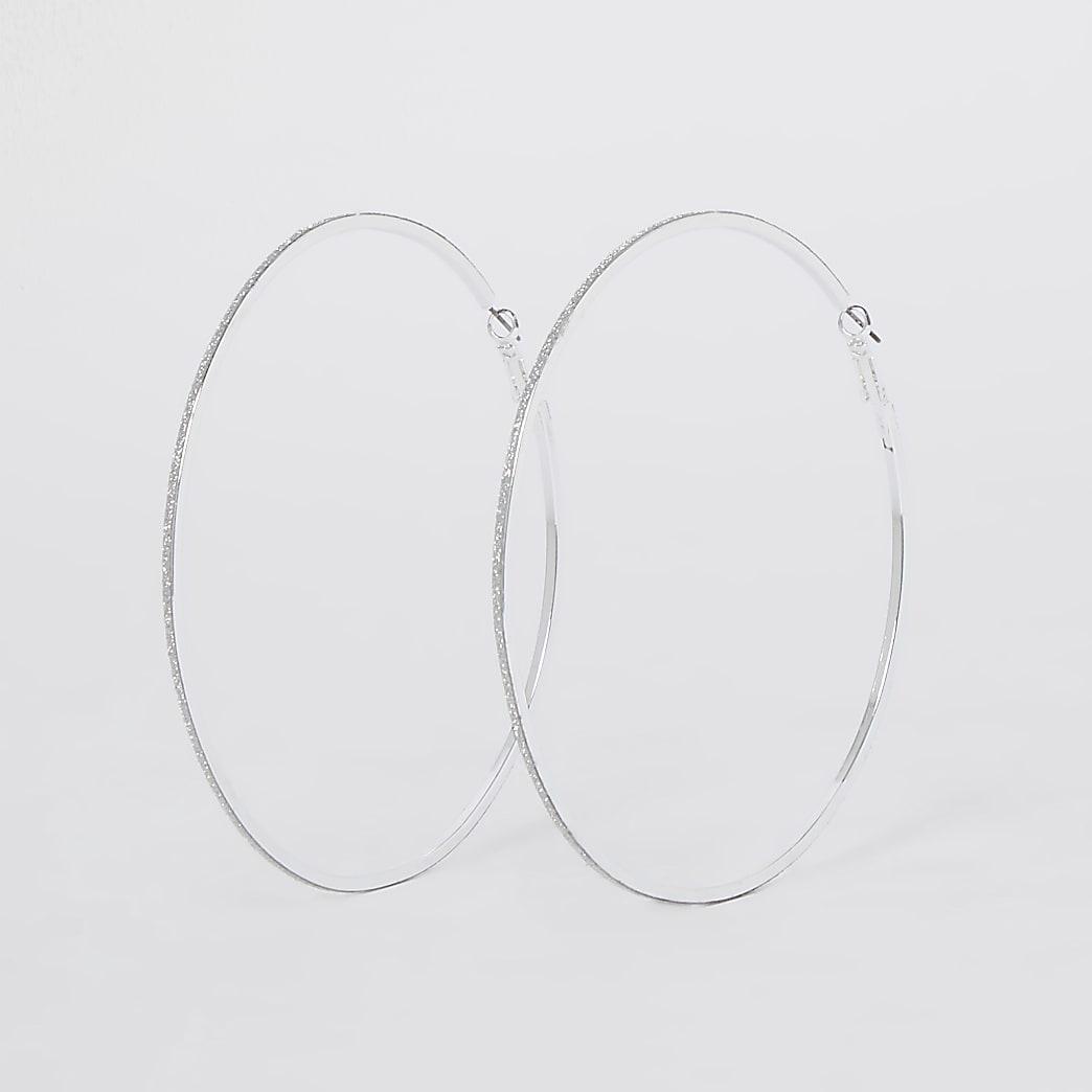 Silver glitter oversized hoops