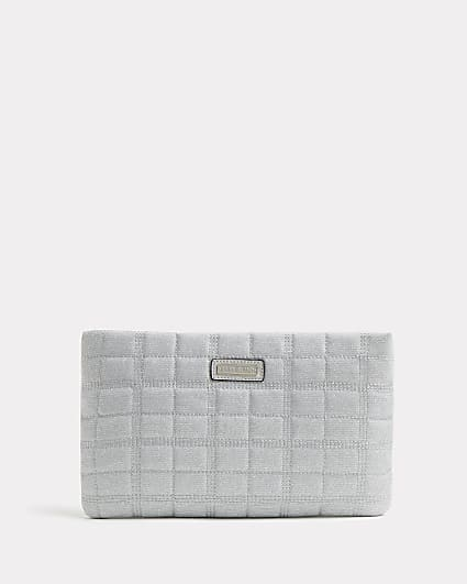Silver glitter quilted clutch bag