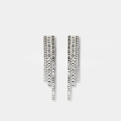 Silver graduated jewelled drop earrings