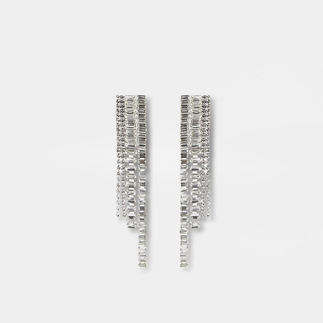 Silver graduated jewelled drop earrings
