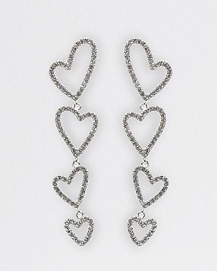 Silver heart pendant drop earrings