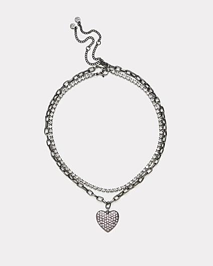 Silver heart pendant multirow necklace