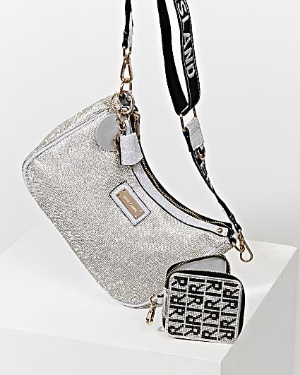 Silver heatseal scoop pouchette bag