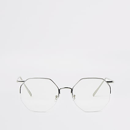 Silver hexagon clear glasses